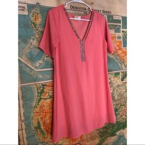 Dresses & Skirts - Coral short sleeve dress with designed beads